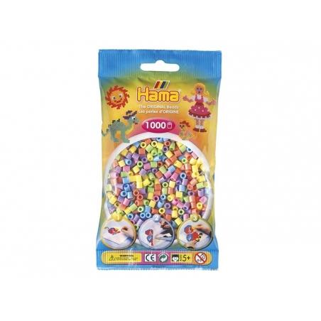 Sachet de 1000 perles HAMA MIDI classiques - couleurs pastelles 50