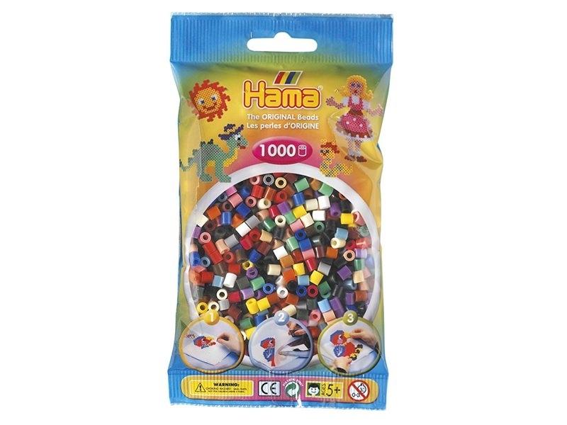 Bag of 1,000 classic HAMA MIDI beads - multiple colours