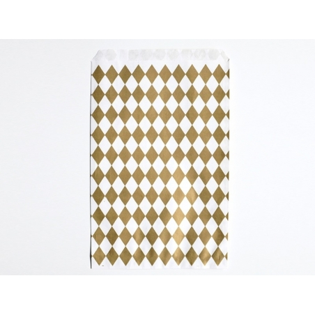 10 gift bags - gold-coloured diamonds