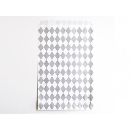 10 gift bags - silver-coloured diamonds