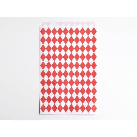 10 pochettes cadeaux - losanges rouges