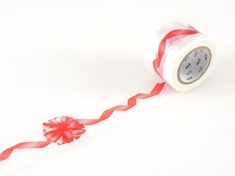 Masking Tapewith a red ribbon pattern - 35mm