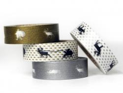 Masking tape motif Noël - set de 3 rouleaux + stickers