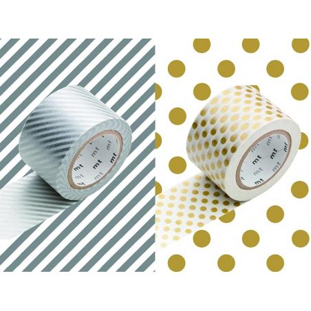 Lot de 2 masking tape larges- or et argent - 30 mm