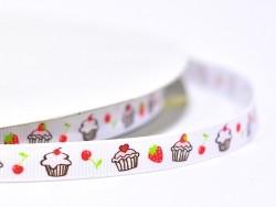 Acheter 1m ruban gros grain cupcake et fraise blanc - 10 mm - 1,89€ en ligne sur La Petite Epicerie - 100% Loisirs créatifs