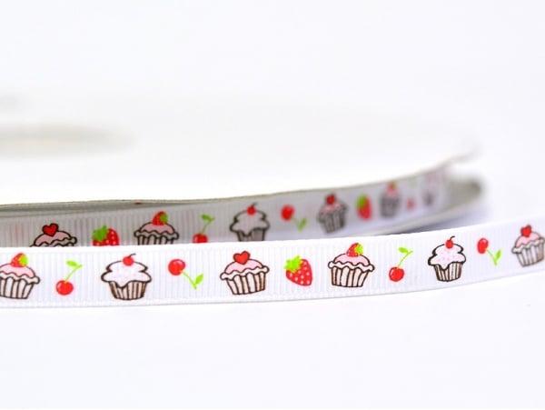 1m ruban gros grain cupcake et fraise blanc - 10 mm