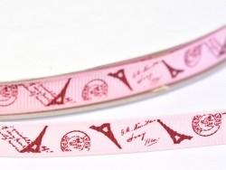 Acheter 1m ruban gros grain Tour Eiffel carte postale - rose - 9 mm - 0,99€ en ligne sur La Petite Epicerie - Loisirs créatifs