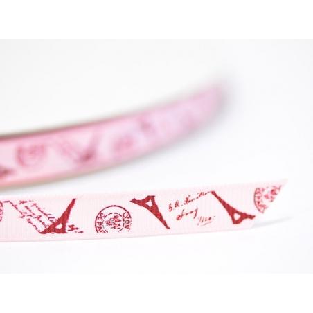 Pink grosgrain ribbon (1 m) - Eiffel Tower/postcard - 10 mm