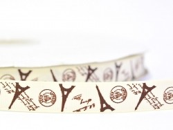 Grosgrain ribbon (1 m) - Eiffel Tower/postcard - 16 mm