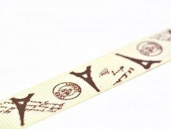 Grosgrain ribbon (1 m) - Eiffel Tower/postcard - 16 mm
