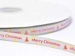 Grey grosgrain ribbon (1 m) - Merry Christmas - 10 mm