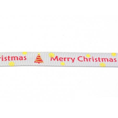 1m ruban gros grain Merry Christmas gris- 10 mm