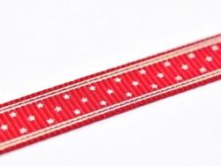 1m ruban gros grain bordeaux étoilé - 10 mm