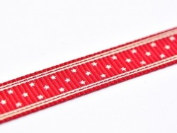 Wine-red grosgrain ribbon (1 m) - stars - 10 mm