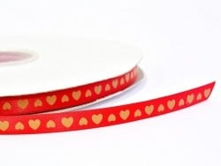 Ochre yellow satin ribbon (1 m) - hearts (9 mm)