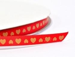 1m ruban satin rouge coeurs ocres -  9 mm