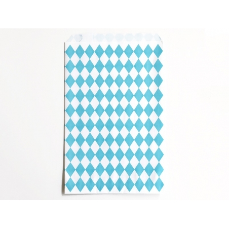 10 gift bags - blue diamonds