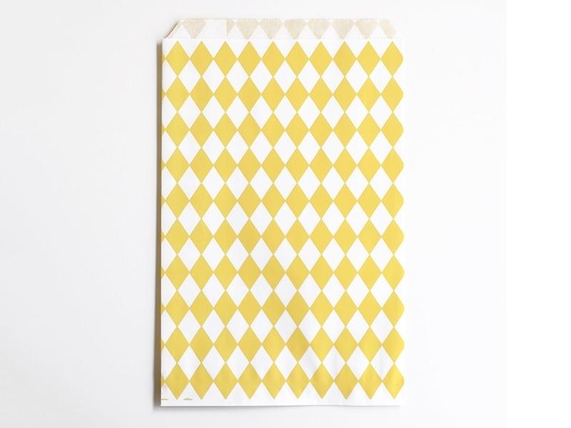 10 pochettes cadeaux - losanges jaunes
