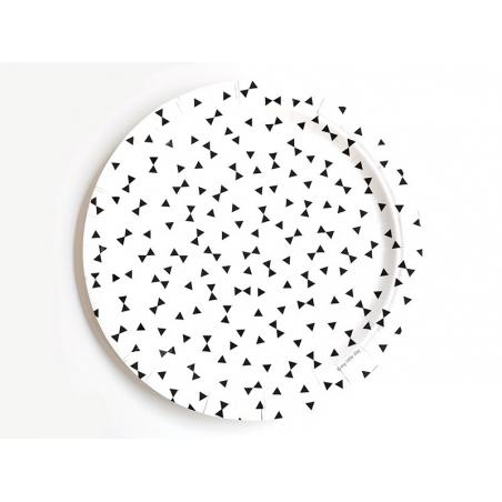 8 assiettes en papier - noeuds noirs