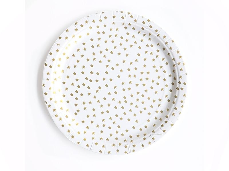 8 paper plates - golden stars