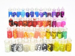 Set of 48 bottles with glitter, microbeads, rhinestones, ...