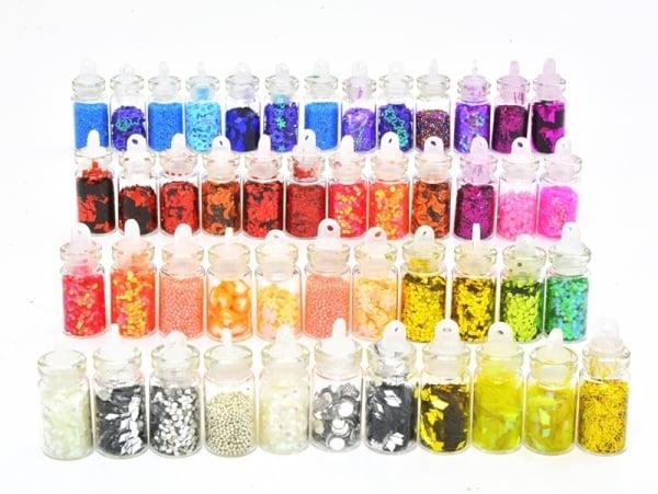 Acheter lot de 48 fioles remplies de paillettes - microbilles - strass ... - 18,90€ en ligne sur La Petite Epicerie - Loisir...