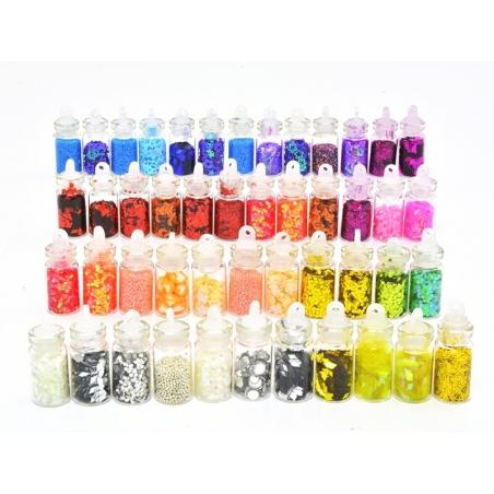Set of 48 bottles with glitter, microbeads, rhinestones, ...