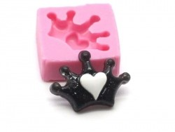 Moule couronne à coeur en silicone  - 1