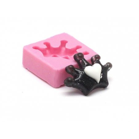 Heart with a crown silicone mould