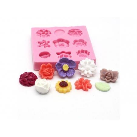 Moule 9 mini fleurs en silicone  - 1