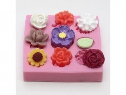 9 small flowers silicone mould
