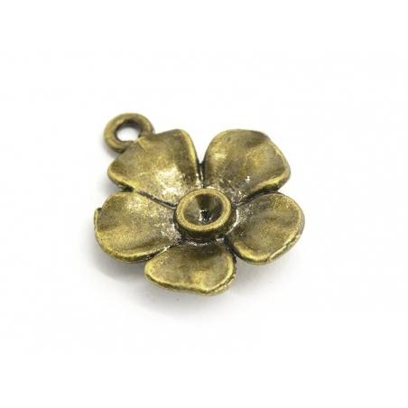 1 Breloque fleur  - couleur bronze