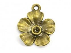 1 Breloque fleur  - couleur bronze  - 1