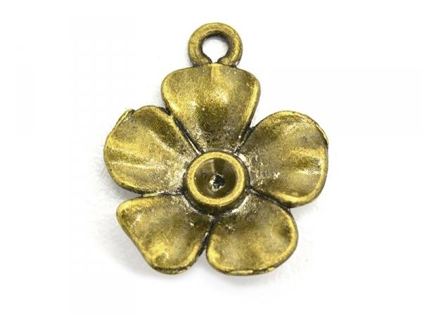 1 flower charm- bronze-coloured