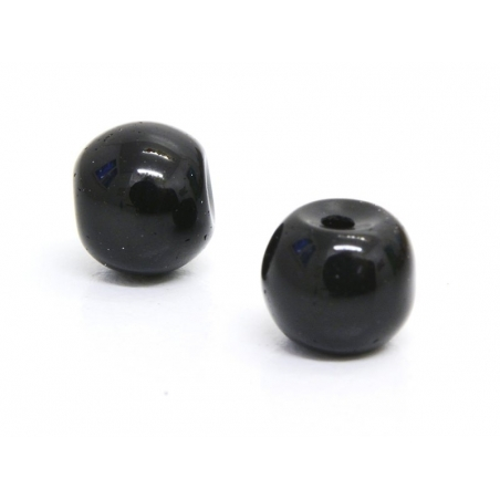 50 round glass beads, 4 mm - black