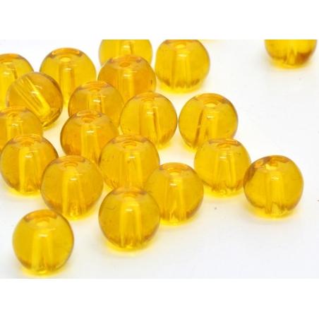50 round glass beads, 4 mm - amber