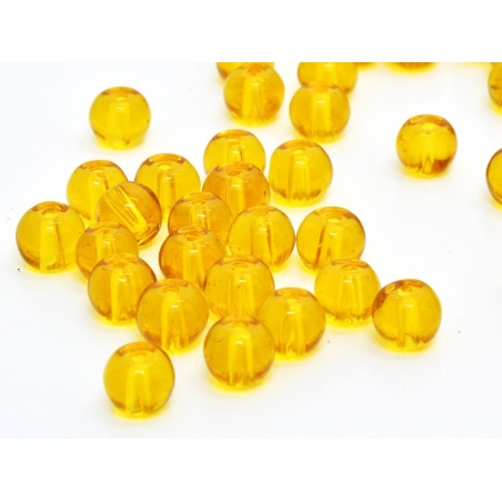 50 perles en verre rondes 4 mm - ambre