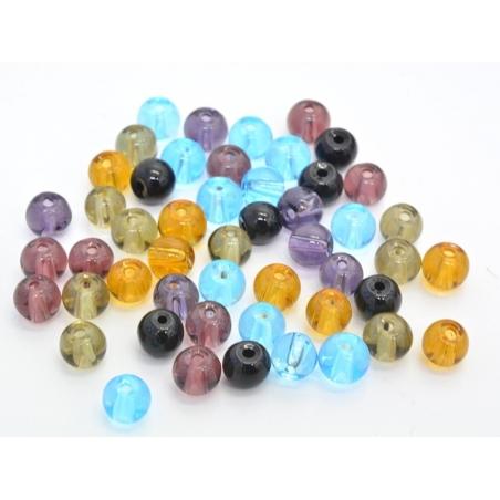 50 perles en verre rondes 4 mm - multicolores