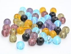 50 perles en verre rondes 4 mm - multicolores  - 1