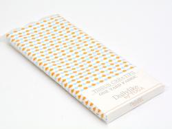 Coupon tissu à motifs - Festons orange bleu