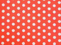 Gemusterter Stoffrest - Rot mit weißen Punkten