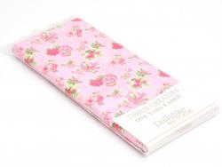 Coupon tissu à motifs - Rose fleurs rose