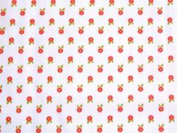 Coupon tissu à motifs - Blanc fleurs rouge