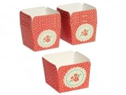 12 Kuchenformen aus Papier - rote Blumen