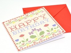 1 carte + enveloppe HAPPY BIRTHDAY point de croix