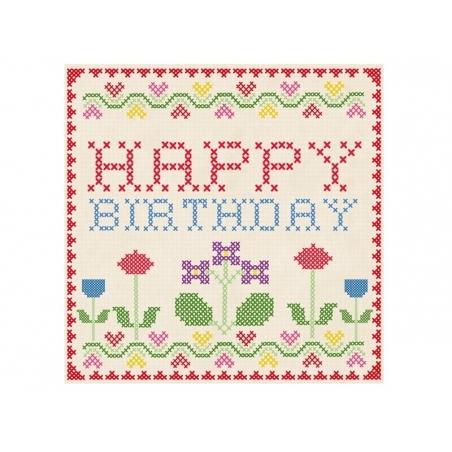 1 carte + enveloppe HAPPY BIRTHDAY point de croix