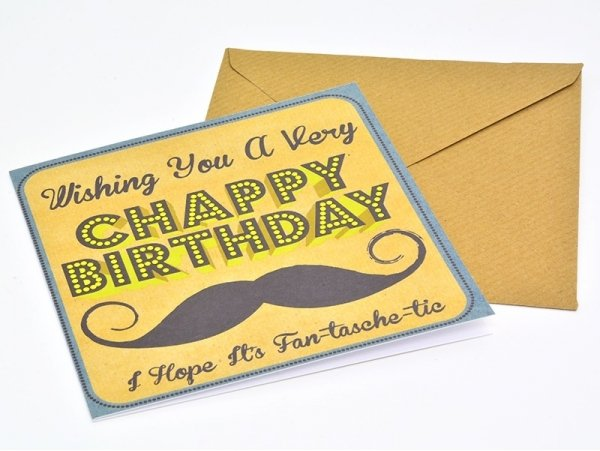"""1 birthday card + envelope - """"Chappy Birthday"""", with a moustache"""