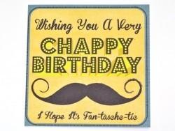 1 carte anniversaire + enveloppe CHAPPY BIRTHDAY Moustache