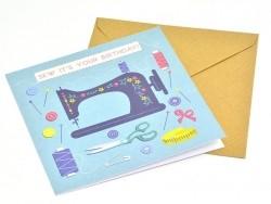 "1 birthday card + one envelope - fashion - ""Sew it's your birthday"""