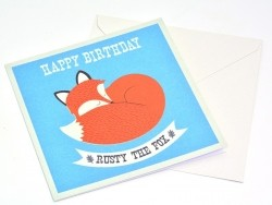 "1 birthday card + envelope - ""Rusty the Fox"""